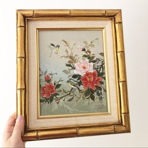 Vintage Accents - Vintage Hand Painted Floral Bird Bamboo Frame Set